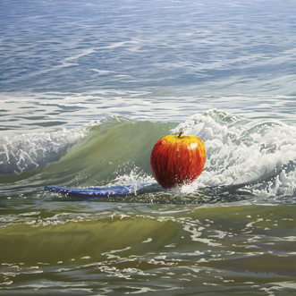 Apple on a surf board, seascape, surreal image, Julie Cane, Julie Cane Fine Art, Oil painting.