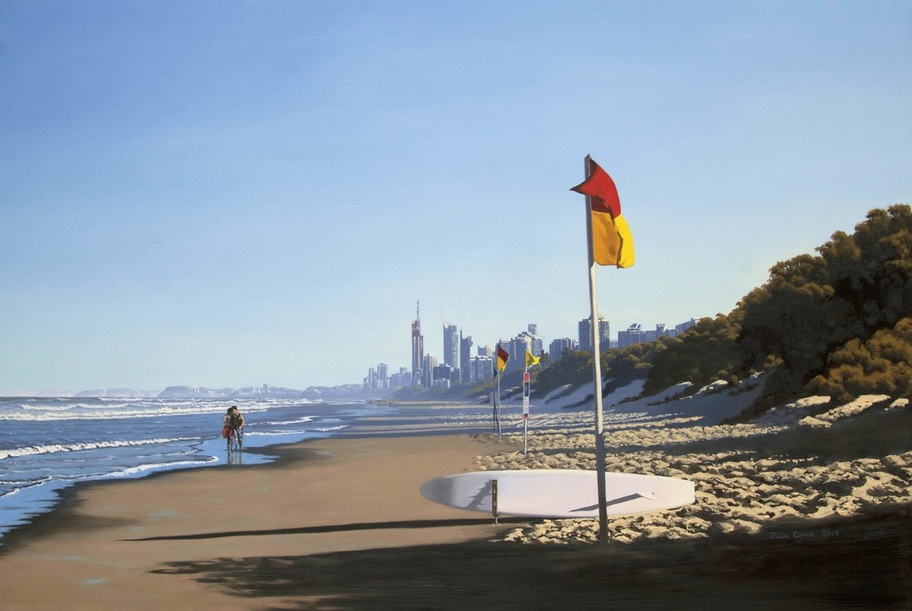 Beach Scene, Main Beach Gold Coast, Evening, oil Painting, Australian artist,