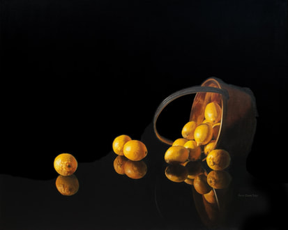 Lemons and Preserving pan Oil painting Julie Cane