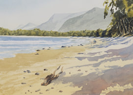 Beach walk, painting by Julie Cane